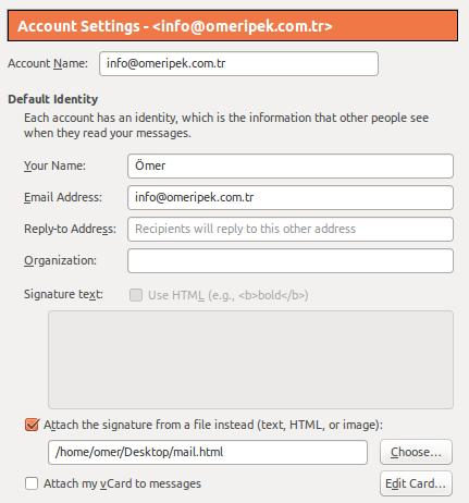 İmza için HTML dosyamızı dahil etme işlemi